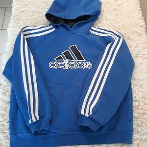 Adidas pullover boys 8 blue M 3 stripes sweatshirt